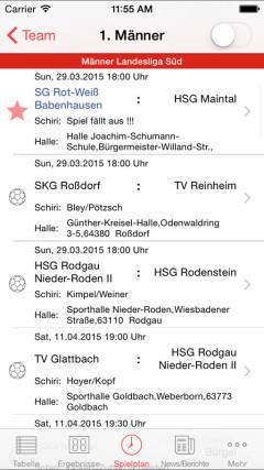 Handball-App SG Rot-Weiss Babenhausen iOS