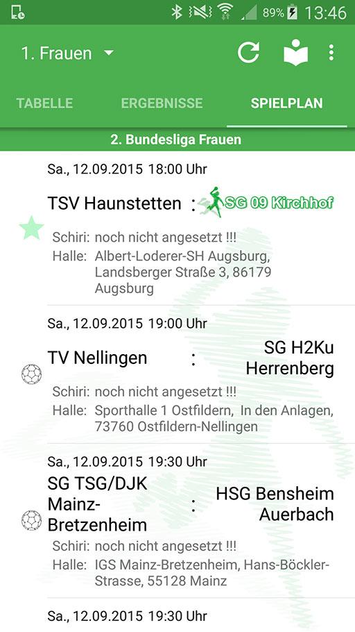 Handball-App SG 09 Kirchhof Android